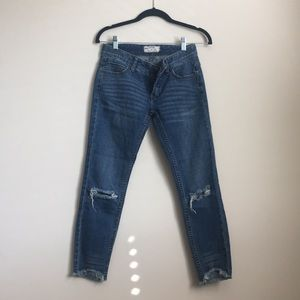 Free People Low Rise Ripped Jeans